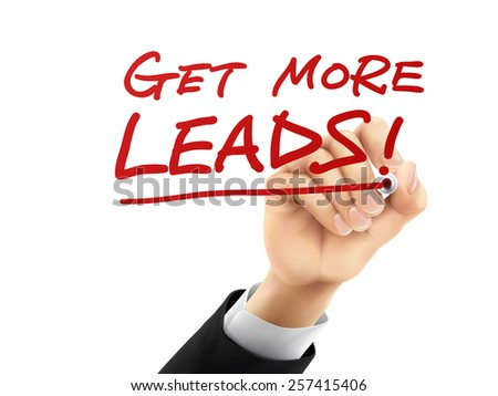 get more leads words written by hand on a transparent board - stock photo