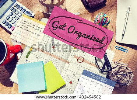Get Organized Tidy Up Clean Schedule To Do Concept - stock photo