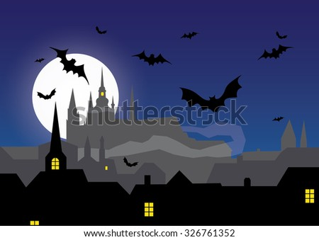 Get ready for Halloween. Spooky Prague city in the night with the fog... Guarded by bats