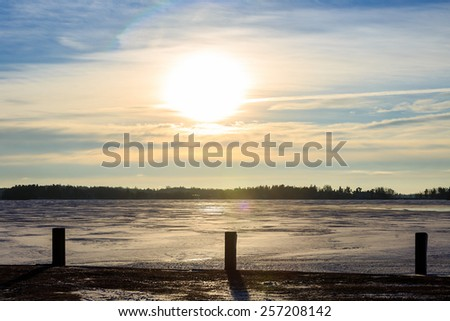 Get snow in the evening - stock photo