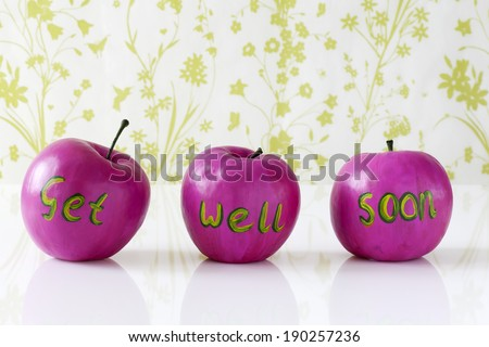 Get well soon card with hand painted pink apples