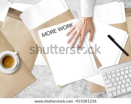 Getting more paperwork task on desk. - stock photo