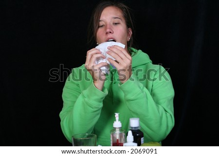 getting ready to sneeze - stock photo