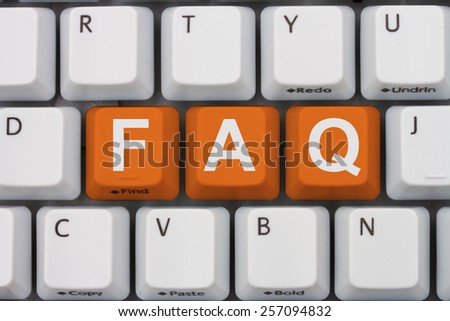 Getting the FAQs online, A gray computer keyboard with the word FAQ in orange letters - stock photo