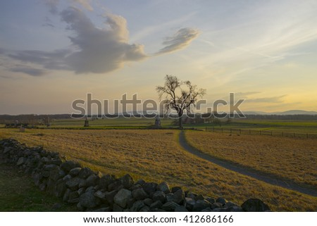 Gettysburg at Sunset. This is Cemetery Hill where Picket's Charge occurred on the final day of battle. - stock photo