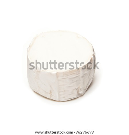 Gevrik goats cheese isolated on a white studio background. - stock photo