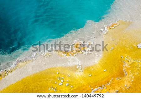 Geyser Basin in Yellowstone National Park in Wyoming - stock photo