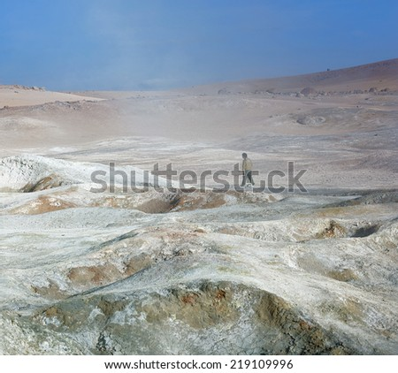 Geyser (geothermal area) Sol de Manana in Eduardo Avaroa National Reserve - Bolivia, Latin America - stock photo