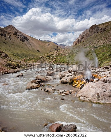 Geyser on Domuyo Provincial Park, Neuquen, Argentina - stock photo