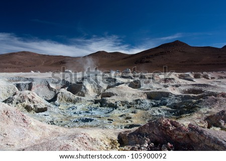 Geysers at the altitude of 4900 m, in the Eduardo Avaroa Andean Fauna National Reserve in Bolivia - stock photo