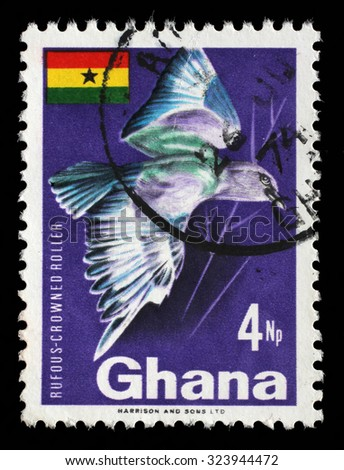 GHANA - CIRCA 1967: A stamp printed in Ghana shows Rufous-crowned Roller (Coracias naevia), circa 1967