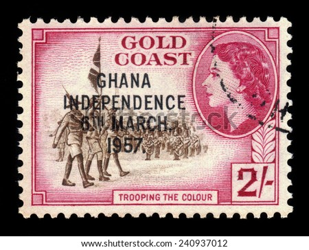 GHANA - CIRCA 1957: A stamp printed in Ghana shows standard bearers and queen Elizabeth II, stamp of Gold Coast overprinted in black, Ghana Independence, circa 1957