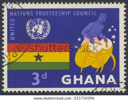 GHANA - CIRCA 1959: A stamp printed in Ghana shows United Nations Trusteeship Council, circa 1959 - stock photo