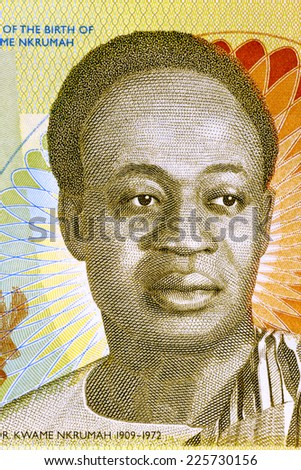 GHANA - CIRCA 2010: Kwame Nkrumah (1909-1972) on 2 Cedis 2010 Banknote from Ghana. Leader of Ghana and its predecessor state, the Gold Coast, during 1951-1966. - stock photo