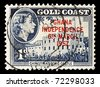 GHANA - CIRCA 1957  : old stamp shows Christiansborg Castle and celebrates the Independence of the country, Ghana, circa 1957. - stock photo