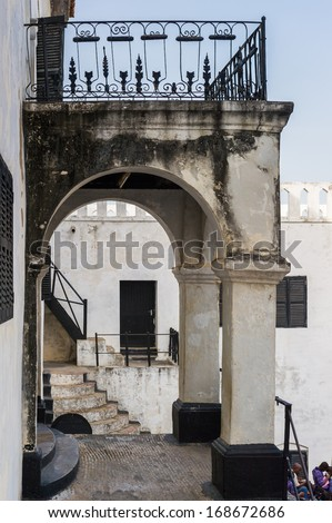 GHANA, ELMINA - MARCH 2, 2012: Interior of the Elmina  Castle in Elmina, Ghana, March 2, 2012. Elmina Castle is a UNESCO World heritage site