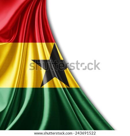 Ghana flag and white background - stock photo