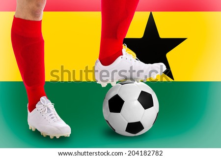 Ghana soccer player with football for competition in Match game.