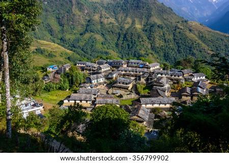 Ghandruk village in the Annapurna region, Nepal - stock photo