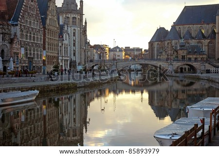 GHENT, BELGIUM - DEC. 3: Ghent, Belgium, on December 3, 2008, is the capital and biggest city of the East Flanders province. The Graslei is one of the most scenic places in Ghent's old city centre.