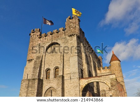 GHENT, BELGIUM - DECEMBER 30, 2012: Gravensteen castle in Ghent (circa 1180). The castle served as the seat of the Counts of Flanders until 14th century