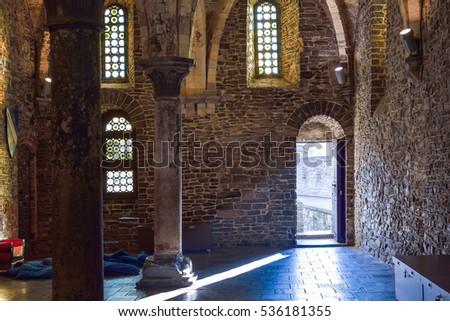 ghent belgium december 05 2016 interior of the medieval gravensteen castle in ghent