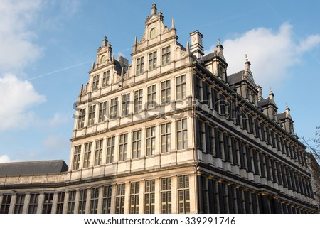 GHENT, BELGIUM - November 11, 2015. Facade of the city hall of Ghent, Belgium.