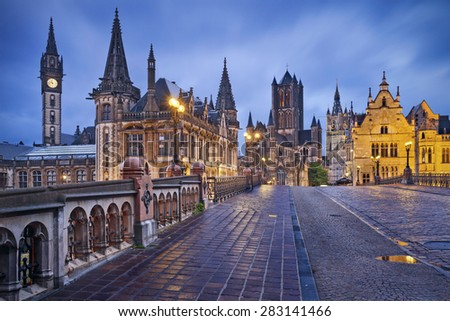 Ghent.Image of Ghent, Belgium during rainy twilight blue hour. - stock photo