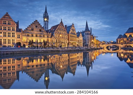 Ghent. Image of Ghent, Belgium during twilight blue hour. - stock photo