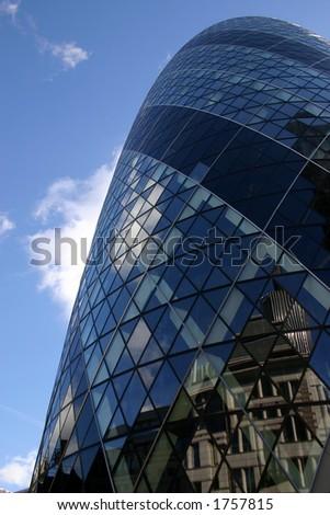 Gherkin tower, modern office building in London - stock photo
