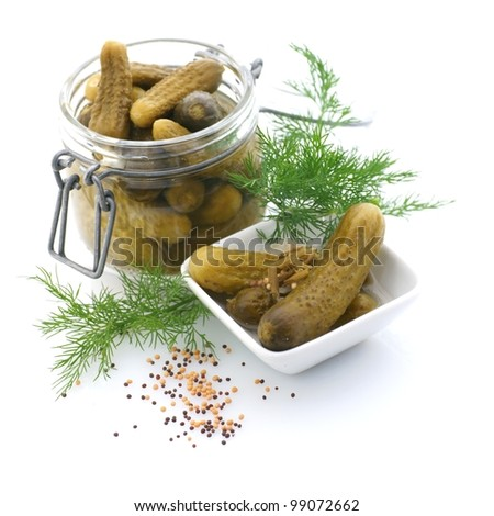 Gherkin with dill - stock photo