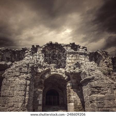 Ghost Castle Entrance - stock photo