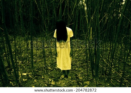 Ghost Girl Series,Halloween or Horror Concept Background - stock photo