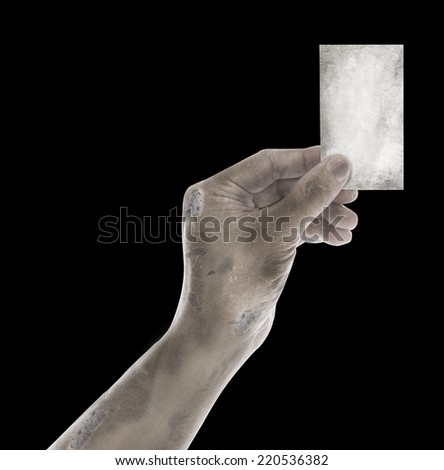 ghost Hand hold blank business card on blackground for halloween - stock photo