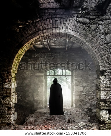 Ghost in old castle  - stock photo