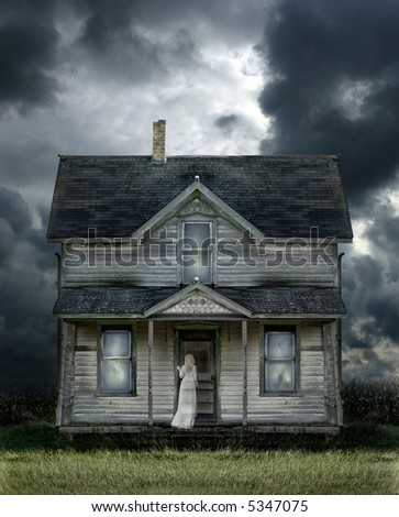Ghost on the porch of an old farmhouse during a storm. - stock photo