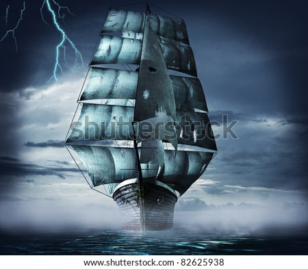 ghost ship at night in a storm and fog