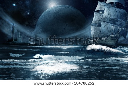 Ghost ship sailing across the dark water