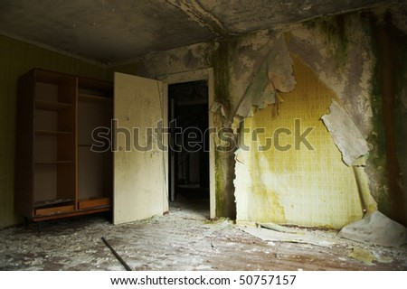 Ghost town. Abandoned apartments in residential neighborhoods after 20 years. Pripyat. 2006 - stock photo