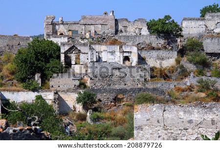 Ghost town of Kayakoy (Turkey) - stock photo