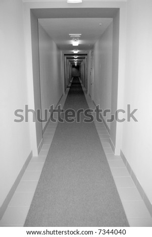 ghostly hallway - stock photo