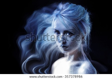 ghostly woman, soul. Portrait of a movement effect, creative body art on theme space and stars.  - stock photo