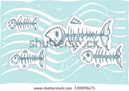 Ghosts and skeletons of fish swimming together.
