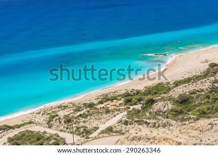 Gialos beach in Lefkada island (Greece) - stock photo