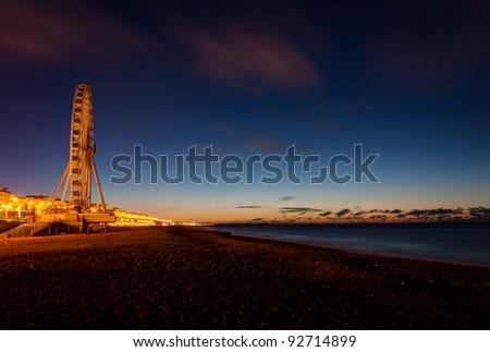 Giant Brighton Wheel at night. - stock photo