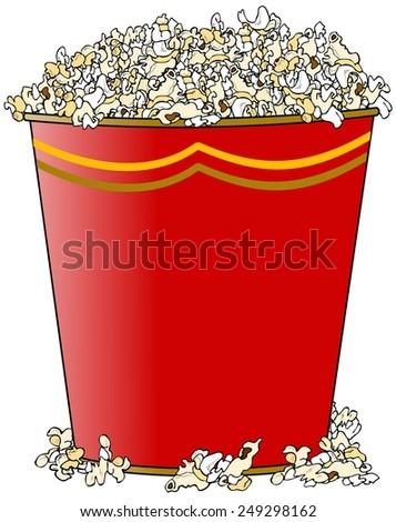 Giant bucket of popcorn - stock photo