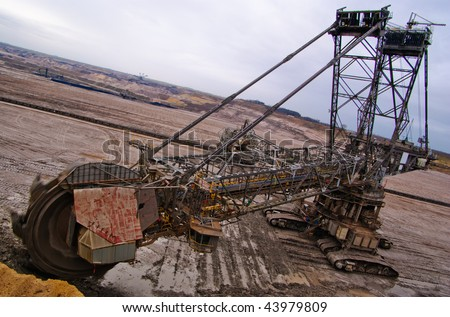 Giant bucket wheel excavator in a coal open pit in Rhineland, Germany