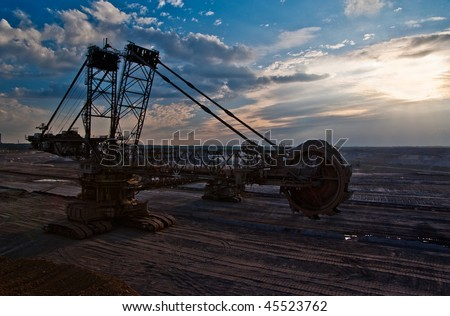Giant bucket wheel excavator in a coal open pit in Rhineland, Germany - stock photo