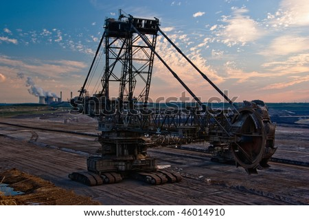 Giant bucket wheel excavator in a coal open pit in Rhineland, Germany - stock photo