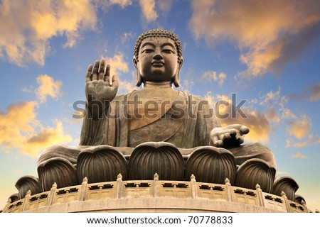 Giant Buddha sitting on lotusl. Hong Kong - stock photo